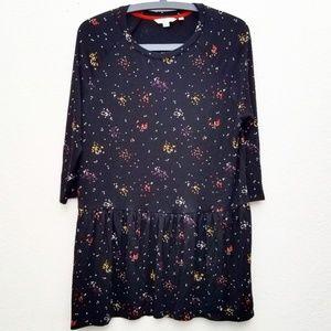 Boden Black & Polka Dot Long Sleeve Babydoll Dress